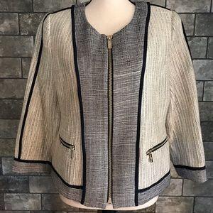 Karl Lagerfeld Cream & Navy Gold Zipper Jacket